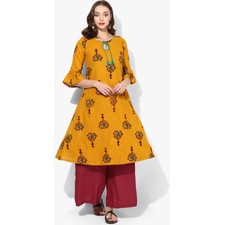 Varkha Fashion Yellow Floral Stitched Kurti For Women