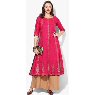 Varkha Fashion Pink Block Print Stitched Kurti For Women