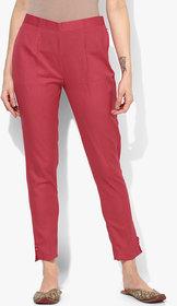 Varkha Fashion Cotton Solid Maroon Pants