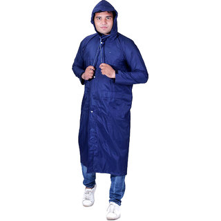HM Mens Waterproof Portable Long Raincoat Jacket with Hoods for Biking Rain Gear Camping Hiking Picnic and Travel- L (Blue)