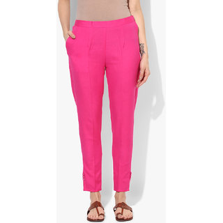 Varkha Fashion Cotton Solid Pink Pants