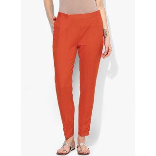 Varkha Fashion Cotton Solid Orange Pants
