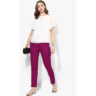 Varkha Fashion Cotton Solid Purple Pants