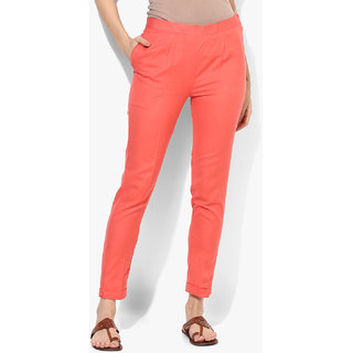 Varkha Fashion Cotton Solid Coral Pants