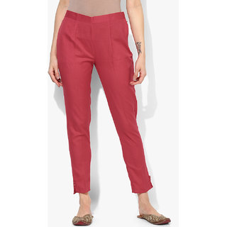 Varkha Fashion Cotton Solid Maroon Pants