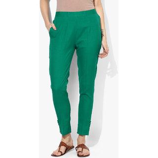 Varkha Fashion Cotton Solid Green Pants