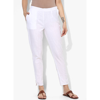 Varkha Fashion Cotton Solid White Pants