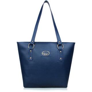 Mammon Casual Plain Blue PU Zipper Women's Handbag