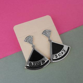JewelMaze Austrain Stone Black Enamel Dangler Earrings-1312821B