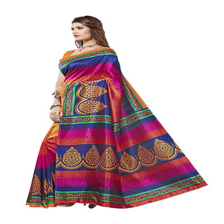 Linaro Lifestyles Women's Bhagalpuri Cotton Saree With Blouce Piece