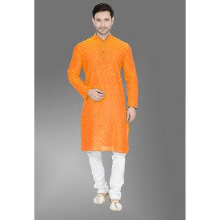 Trustedsnap Printed South Cotton Light Orange  Kurta and Pyjama Set For Mens