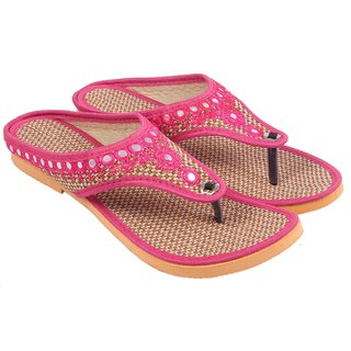 Gerief Ethnic Jute Pink Footwear for Women