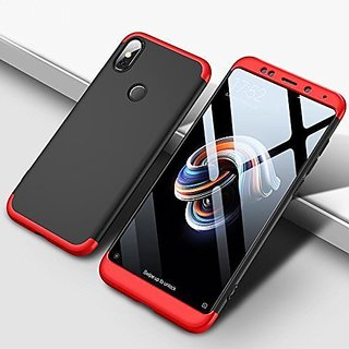 buy popular 16ef5 50c0a Redmi Y2 Black Red Colour 360 Degree Full Body Protection Front Back Case  Cover Standard Quality
