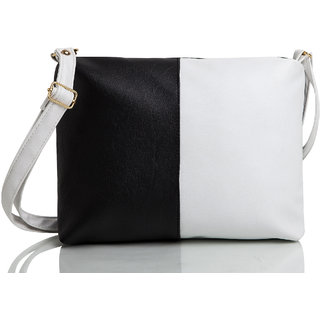 Mammon Casual Plain Black & White PU Zipper Women's Sling bag