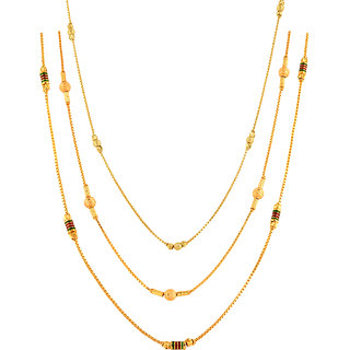XC-91- Combo Offer 3, One Gram 22kt Gold Plated Neck Chain 28 Inch Long Length