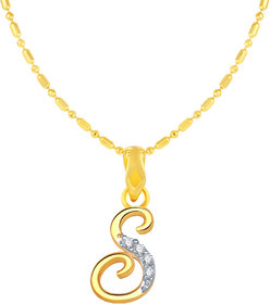 Sukai Jewels Stylish Cursive Initial 'S' Gold Plated Alloy Cubic Zirconia Alphabet Pendant with Chain for Women & Girls [SAP162G]