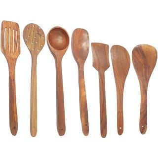 Desi Karigar Handmade Wooden Serving And Cooking Spoon Kitchen Utensil Set Of 7