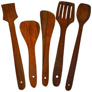 Desi Karigar Handmade Wooden Serving And Cooking Spoon Kitchen Utensil Set Of 5