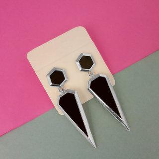 JewelMaze Silver Plated Black Enamel Dangler Earrings-1312823B