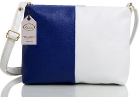 Mammon Women's White & Blue Sling Bag(slg-bw, Size-11x8 inch)