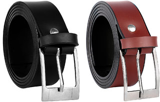 Jack Klein Combo of 2 Black Brown Leatherite Pin Buckle Belts For Mens
