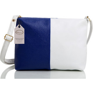 Mammon Women's White & Blue Sling Bag(slg-bw, Size-11x8 inch)