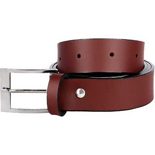 Jack Klein Stylish Leatherite Brown Needle Pin Point Buckle Belt for Men (Synthetic leather/Rexine)