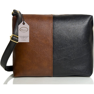 Mammon Casual Plain Black & Brown PU Zipper Women's Sling Bag