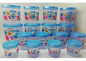 Airtight With Twister Plastic Containers Set of 16 PCS (2400ml, 1600ml, 800ml, 400ml), Blue
