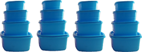 Plastic Food Storage Containers Set of 16 PCS  1350 ml, 750 ml, 500 ml, 250 ml , Blue