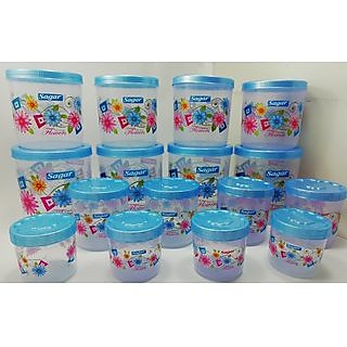 Airtight With Twister Plastic Containers Set of 16 PCS (2400ml 1600ml 800ml 400ml) Blue