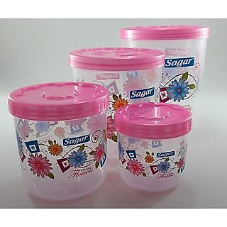 Airtight With Twister Plastic Containers Set of 4 PCS (2400ml, 1600ml, 800ml, 400ml) Pink