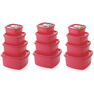Plastic Food Storage Containers Set of 12 PCS (1350 ml, 750 ml, 500 ml, 250 ml), Pink