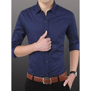 Tom T Men's Navy Blue Dotted Shirt
