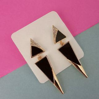 JewelMaze Gold Plated Black Enamel Dangler Earrings-1312830A