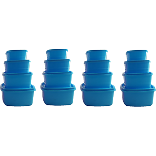 Plastic Food Storage Containers Set of 16 PCS (1350 ml, 750 ml, 500 ml, 250 ml), Blue