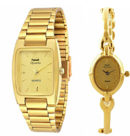 HWT Formal Metal Gold Analog Quartz Rectangle  Oval Couple Watches combo