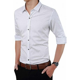 Tom T Branded White Dott Printed Shirt For Men