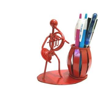 Decorative Desk Organizer French Horn Man Pen Pencil Holder/Stand-Metal