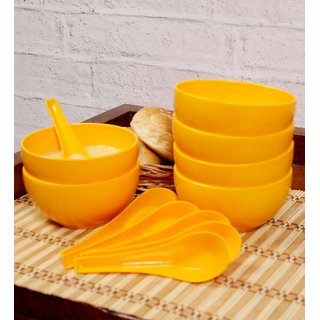 Yellow Soup Bowl Set of 6 with Spoon