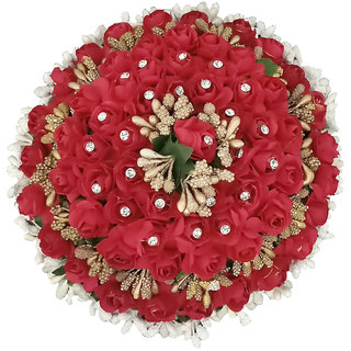 JewelMaze Austrian Stone Red Floral Hair Brooch-1502270
