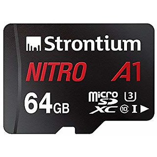 Strontium Nitro A1 64GB Micro SDXC Memory Card 100MB/s A1 UHS-I U3 Class 10 with High Speed Adapter for Smartphones Tabl