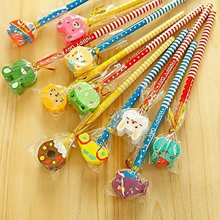 Birthday Return Gifts 6 Pencil Set With Attractive Animal Shape Eraser For Kids Party