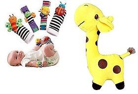 Kuhu Creations Cute  Stylish Soft Toy  Baby Rattles.(5 Units, Style A Giraffe.Yellow + Multicolor 2 Wrist 2 Foot Ratt