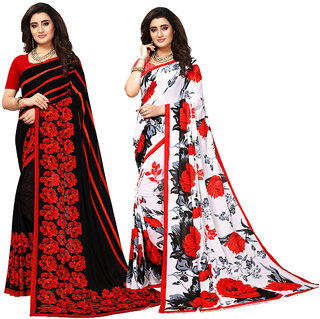 Swaron Black and White Red Georgette Saree Combo of 2