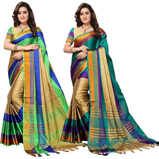 Swaron Blue and Green Poly Silk Stripes Printed Saree Combo of 2