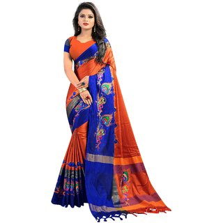 Mayura Cotton Embroidered Saree (Orange-Blue)