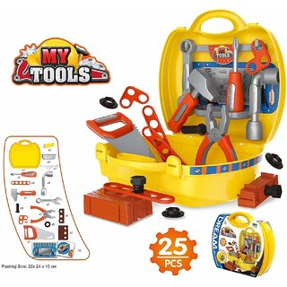 Pretend PlaySet, Little Engineer Pretend Toolbox Construction Tools, Tool Set Toys for Kids, (Set of 25 Pcs)