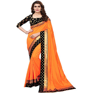 f13ca3b64455c7 Indian Beauty Women s Orange Color Sana Silk With Tessal Plain Saree With Embellished  Blouse Piece