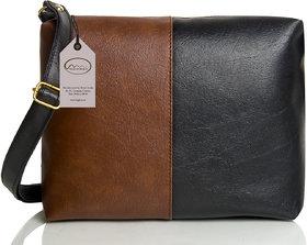 Mammon Women's Black & Brown Sling Bag(slg-tb, Size-11x8 inch)